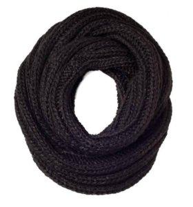 Шарф-снуд, черный с люрексом