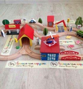 Деревянная железная дорога Городок 69 деталей