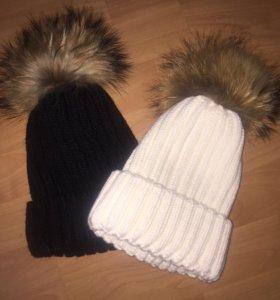 Зимняя шапка с пумпоном