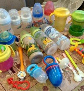 Детская посуда для кормления, бутылочки.