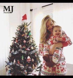 Пижамы с оленями для всей семьи новогодние