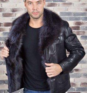 НОВЫЕ мужские зимние кожаные куртки с мехом волка