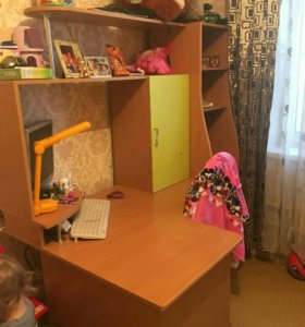 Детская двухспальная кровать со шкафом и столом