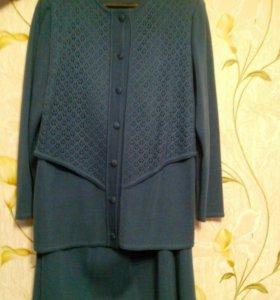 Шерстяной трикотажный костюм, размер 56-58