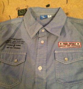 Рубашка джинсовая на мальчика, рост 158