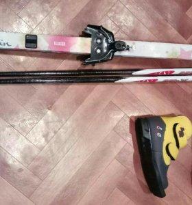 Лыжи с палками+ботинки 31р.