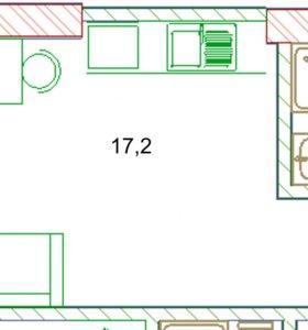 Квартира, 1 комната, 17.2 м²