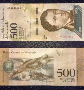 Банкнота 500 боливаров, Венесуэла, 2016г, UNC