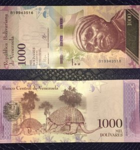 Банкнота 1000 боливаров, Венесуэла, 2016, UNC