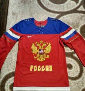 Свитер сборной России по хоккею ОИ Сочи 2014.