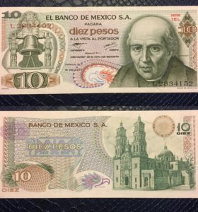 Банкнота 10 песо, Мексика, 1975г, UNC