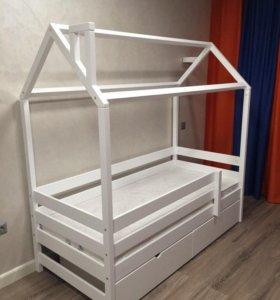 Детская кровать Домик избушка двухъярусная