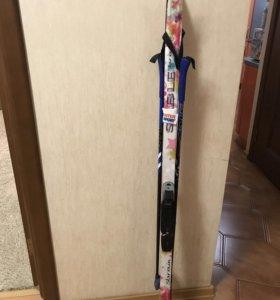 Лыжи 140 см+ботинки 36 р.+палки