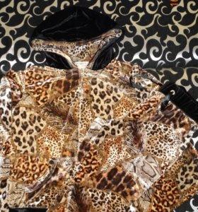 велюровый леопардовый костюм