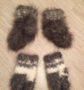 Носочки и варежки из кролика