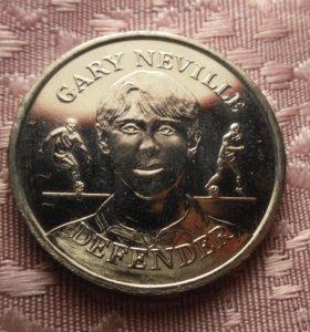 Медаль. Англия. Футболист GARY NEVILLE 1998
