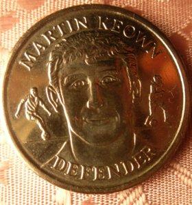 Медаль. Англия. Футболист MARTIN KEOWN. 1998