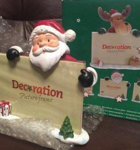 Сувенир - новогодняя рамка для фото Дед Мороз