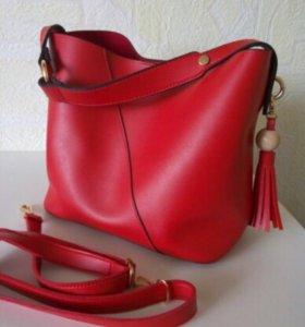 Новая сумка Chloe матовая красная