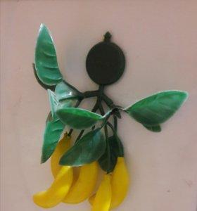 Магнит ветка гроздь бананов на холодильник
