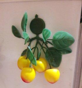 Магнит гроздь ветка абрикоса на холодидьник