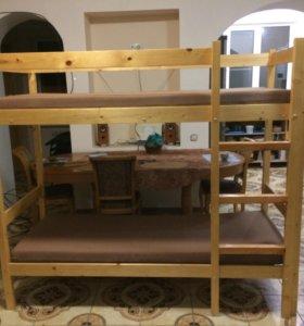 Кровать 2-х ярусная с матрацами 1,80*80