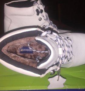 Зимние, кожаные ботинки