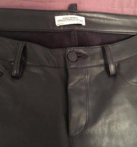 Кожаные брюки штаны Zara