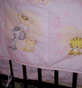 Бортики в кроватку+болдахин