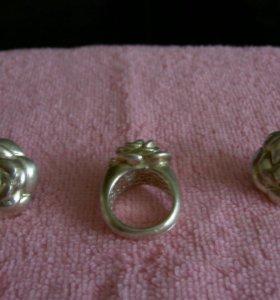 Комплект серьги и кольцо серебро 925проба