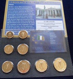 Евро набор Ирландия 2002 сертификат UNC запайка