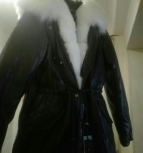 Зимняя кожаная куртка, пальто