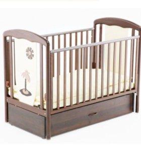 Детская кроватка маятник Papaloni Vitalia с матрас