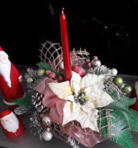 Новогодняя композиция со свечей .