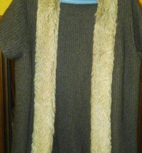 Кардиган теплый серый с искусственным мехом