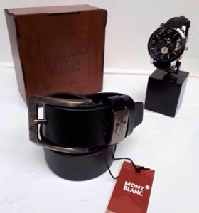 Подарочный набор Montblanc ремень + часы