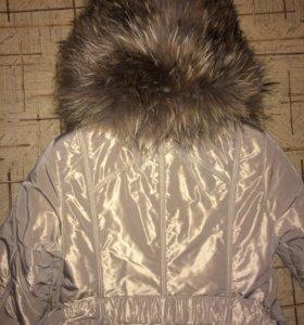Пальто зимнее на синтепоне с натуральным мехом