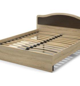 Кровать 160 дуб сонома/венге с ортопед основанием.