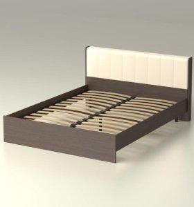 Кровать 160 венге. Кожа. С ортопед основанием.