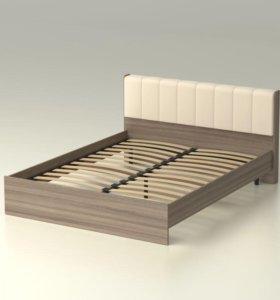 Кровать 160 ясень.Кожа. С ортопед основанием.
