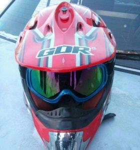 Шлем кроссовой с очками