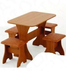 Новая обеденная группа стол+ стулья-мягкие