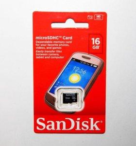 Карта MicroSD SanDisk 16GB, 8GB (новая)