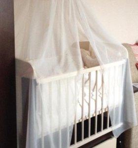 Детскую кроватку, матрас askona