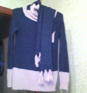 Свитер с шарфом