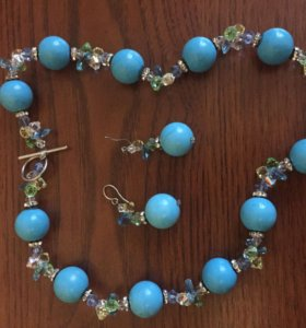 Ожерелье и серьги ,бирюза