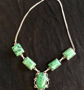 Ожерелье серебро и малахит