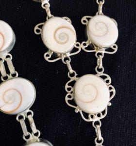 Комплект ожерелье + браслет серебро ракушка