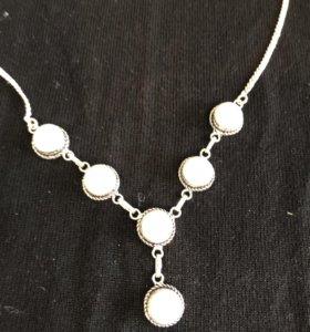 Ожерелье серебро и белый оникс
