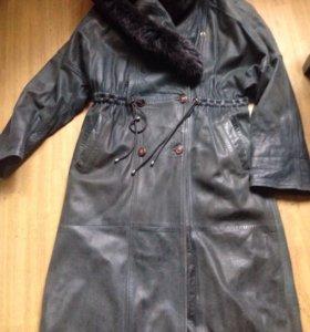 Кожаное пальто размер 48